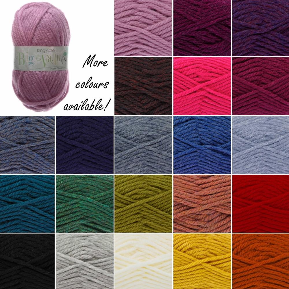 King Cole Big Value Super Chunky Wool Yarn Knitting 100% Premium Acrylic 100g Grey
