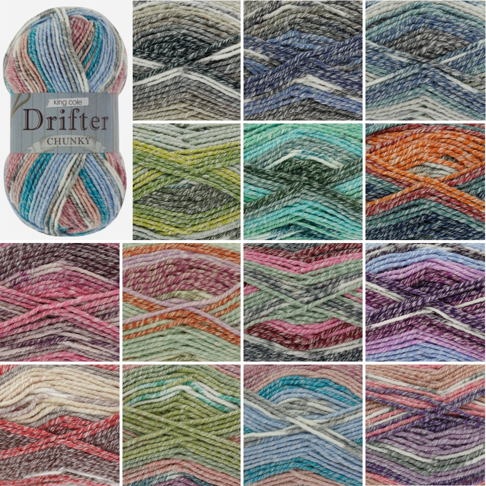 2150 Auckland King Cole Drifter Chunky Knitting Yarn Cotton Acrylic Wool 100g Ball
