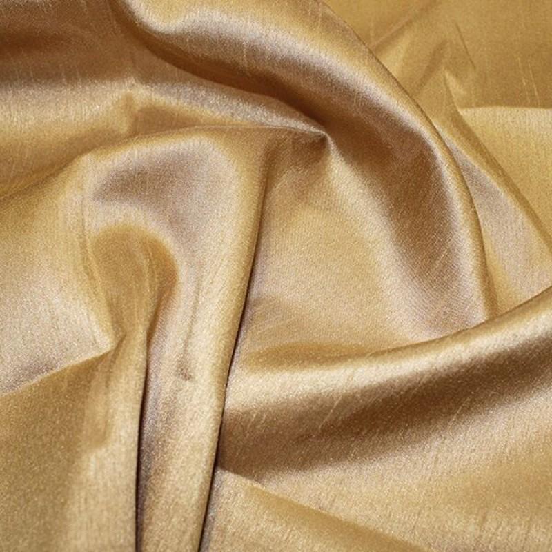 Antique Gold Satin Backed Shantung Dupion Faux Silk Dress Fabric Lightweight 146cm Wide