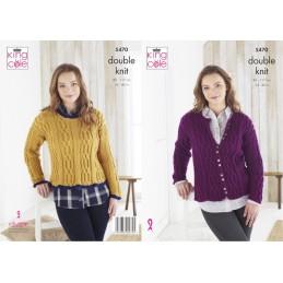 King Cole Knitting Pattern Cardigan & Sweater: Knitted in Merino Blend DK 5470