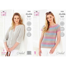 King Cole Knitting Pattern Top & Cardigan: Knitted in Cotton Top DK 5504