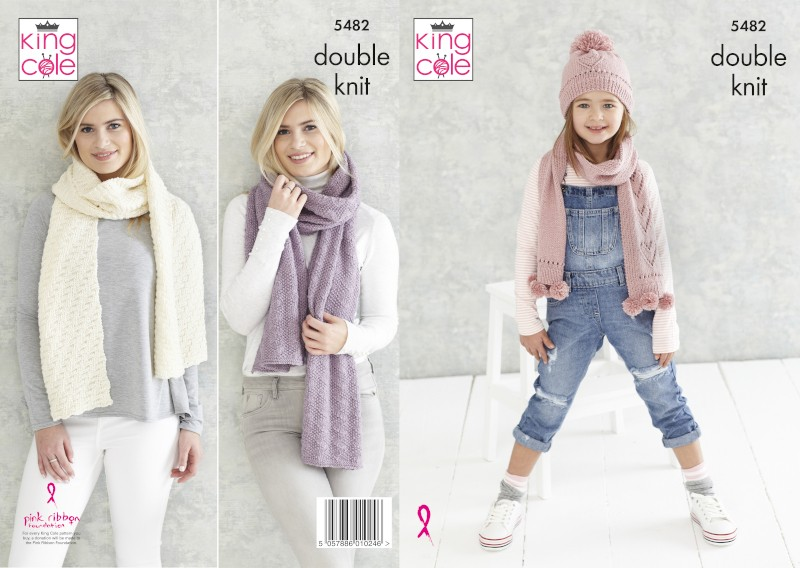King Cole Knitting Pattern Childs Hat, Scarf & Ladies Shawls Subtle Drifter 5482