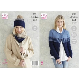 King Cole Knitting Pattern Ladies Cardigan, Snood & Hat: Knitted in Subtle Drifter 5481