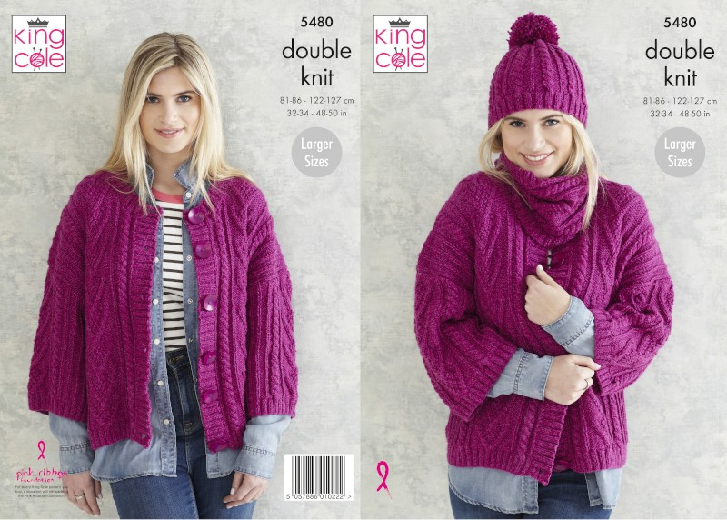 King Cole Knitting Pattern Ladies Jacket, Snood & Hat: Knitted in Subtle Drifter DK 5480