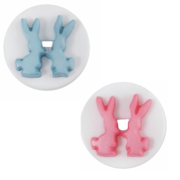 Pink Bunny Rabbits Buttons 14mm Nylon Shank 22 Lignes