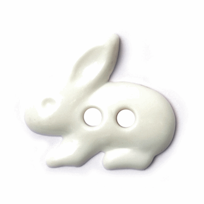ABC Buttons 18mm White Rabbit Button 2 Hole Nylon 28 Lignes