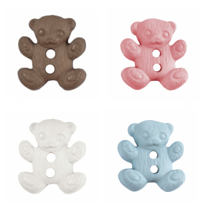 White ABC Buttons 18mm Teddy Bear 2 Hole Polyester 24 Lignes