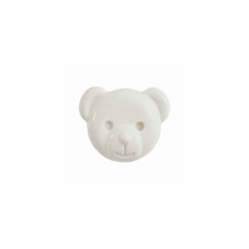 White ABC Buttons 1 x 15mm Teddy Bear Face Button Shank Nylon 24 Lignes