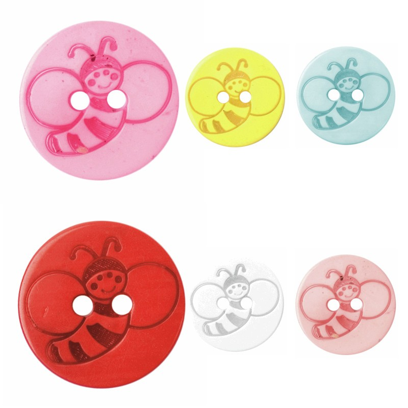 Pink Bee ABC Buttons 1 x 15mm Bumble Bee Button Poly Shank 24 Lignes