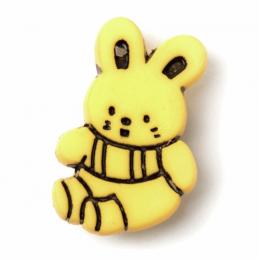 Yellow ABC Buttons 1 x 21mm Bunny Rabbit Button Nylon Shank 34 Lignes