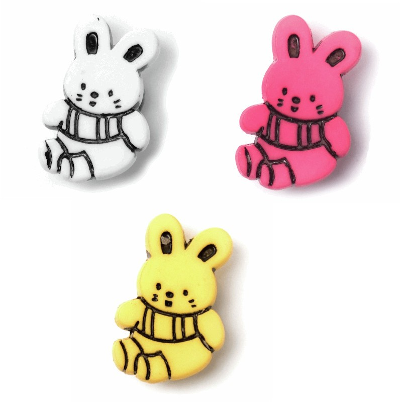 Yellow ABC Buttons 1 x 21mm Bunny Rabbit Button Nylon Shank 34 Lignes
