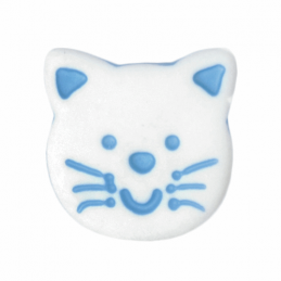 Blue ABC Buttons 1 x 14mm White Cute Cat Face Button Shank Nylon