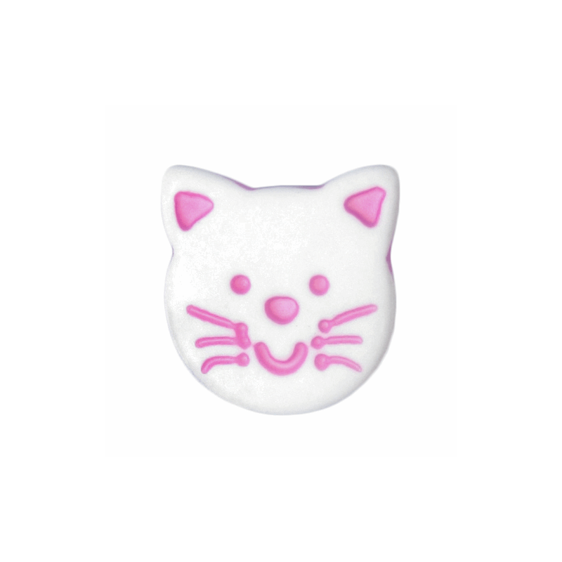 Pink ABC Buttons 1 x 14mm White Cute Cat Face Button Shank Nylon
