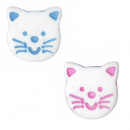 ABC Buttons 1 x 14mm White Cute Cat Face Button Shank Nylon
