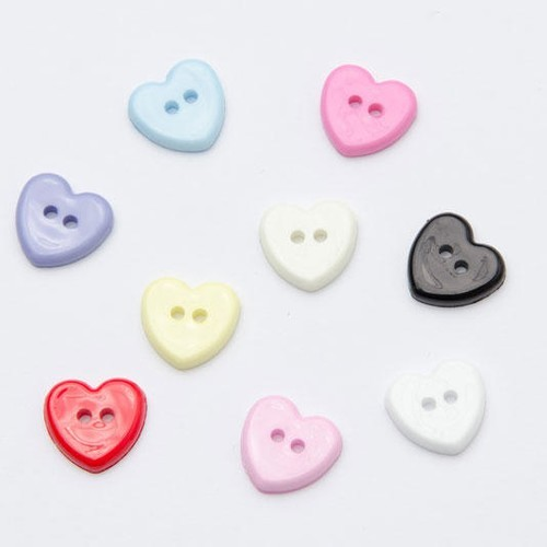 Black Heart Shaped 2 Hole 13mm Button Plastic Craft Sewing Baby