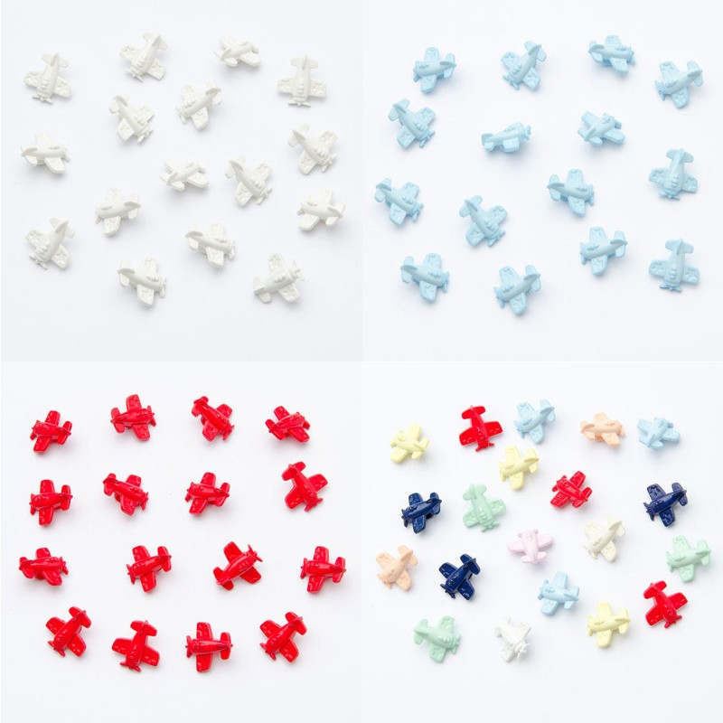 White 15mm Aeroplane Plane Button Plastic Shank Child Baby Craft Sewing