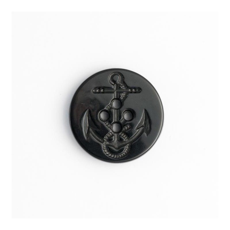 Black Nautical Ships Anchor Moulded Button Plastic Shank Child Baby Craft Sewing