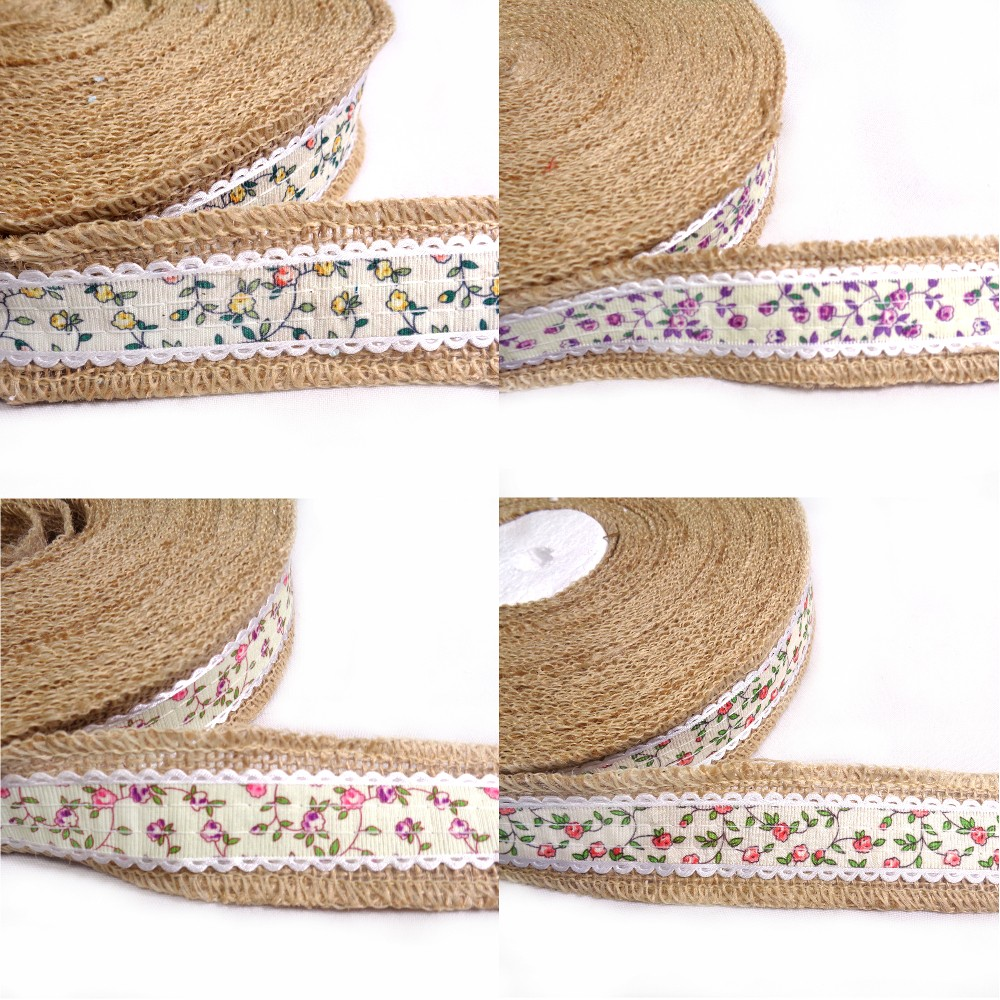 Purple 1 Metre 40mm Floral Flower Vines Jute Ribbon Craft Hessian