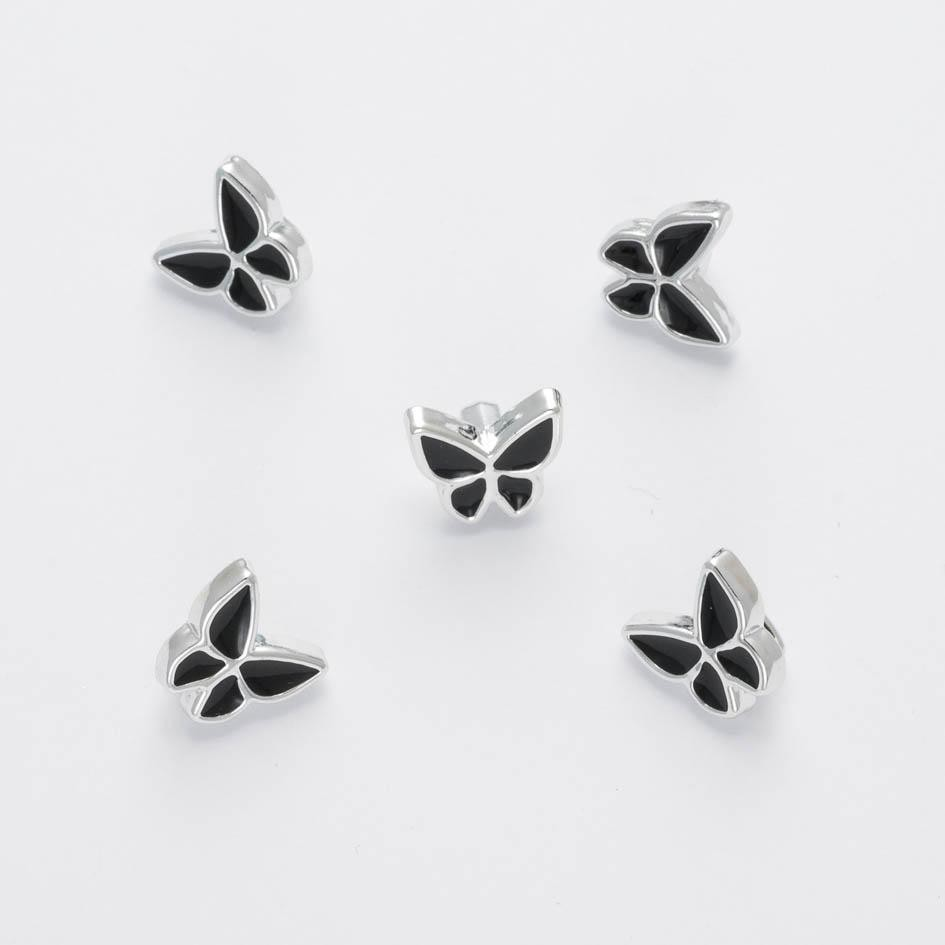 1 x Black/Silver Butterfly Buttons 12mm Plastic Shank Novelty Button