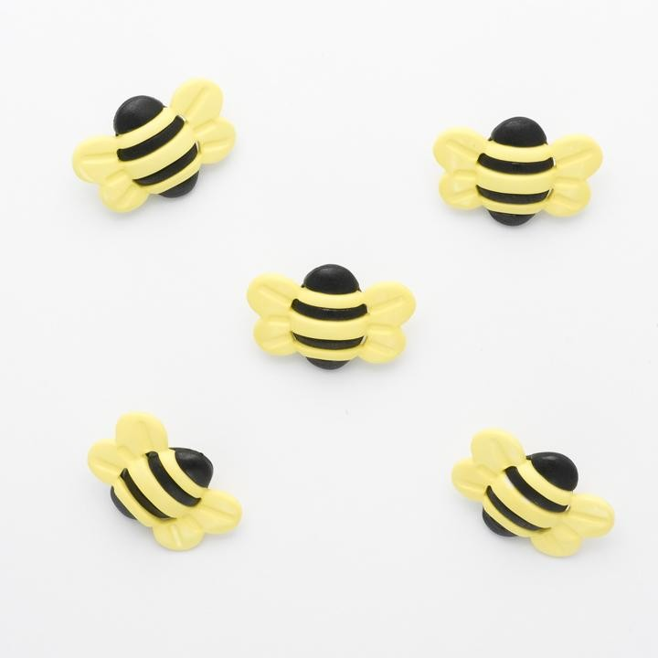 1 x Bumble Bees Button 25mm x 20mm Plastic Shank Novelty Buttons