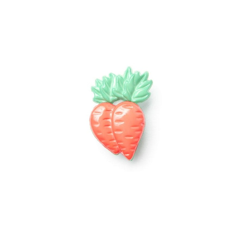 1 x Carrots Button 25mm x 15mm Plastic Shank Novelty Children's