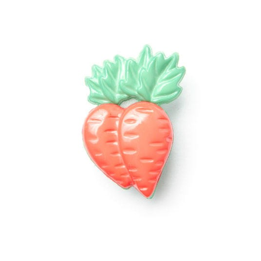 1 x Carrots Button 25mm x 15mm Plastic Shank Novelty Children's