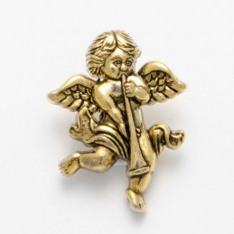 1 x Cherub with Flute Button 28mm ABS Plastic Shank Novelty Antique Gold