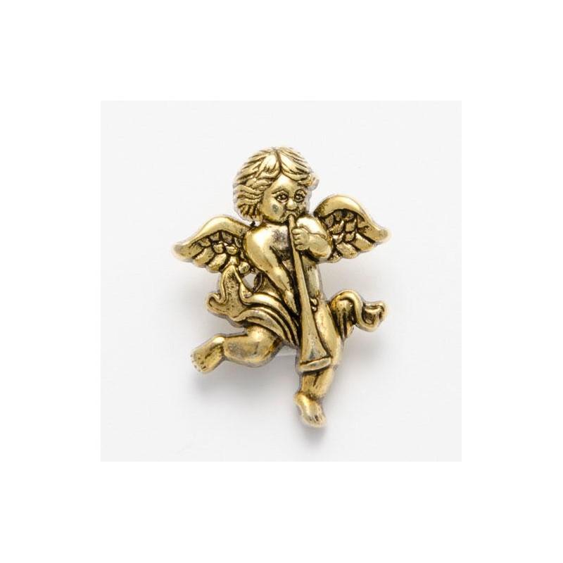 1 x Cherub with Flute Button 28mm ABS Plastic Shank Novelty Children's Antique Gold
