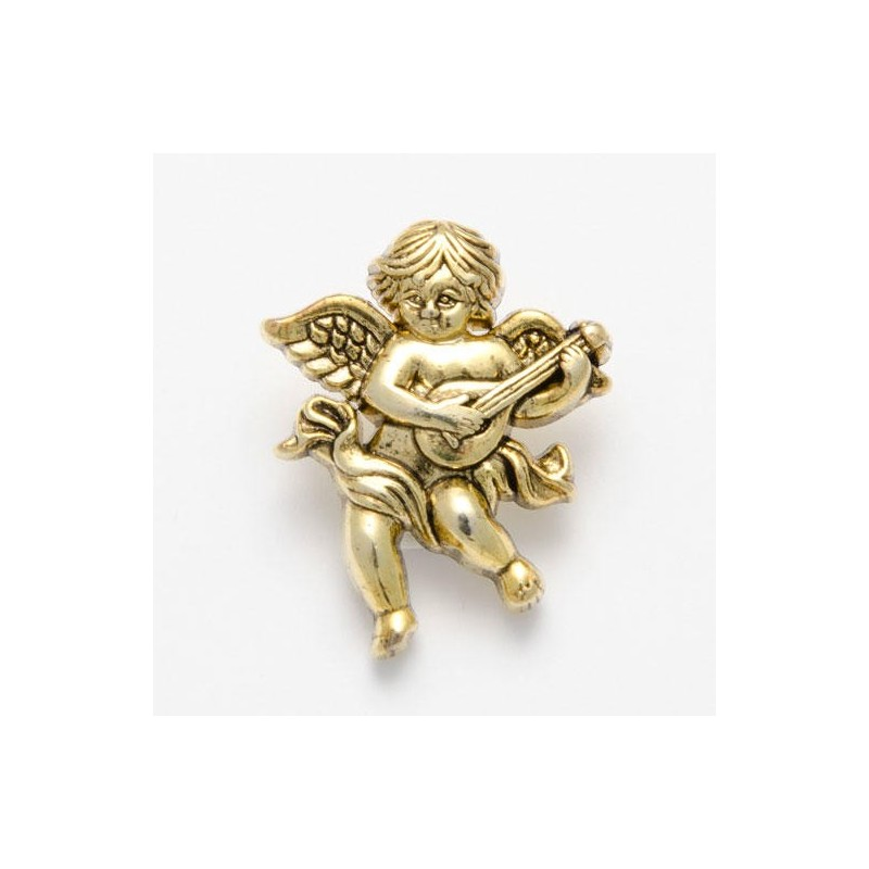 1 x Cherub with Lyre Button 28mm ABS Plastic Shank Novelty Antique Gold