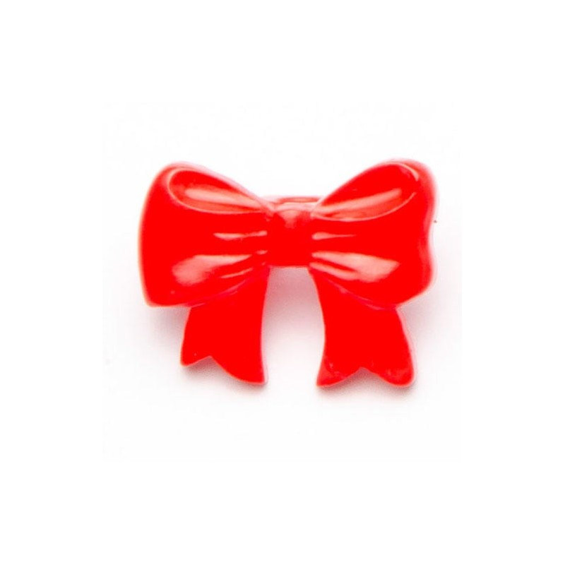 Red 1 x Childrens Bow Shape Button 17mm Plastic Shank Novelty
