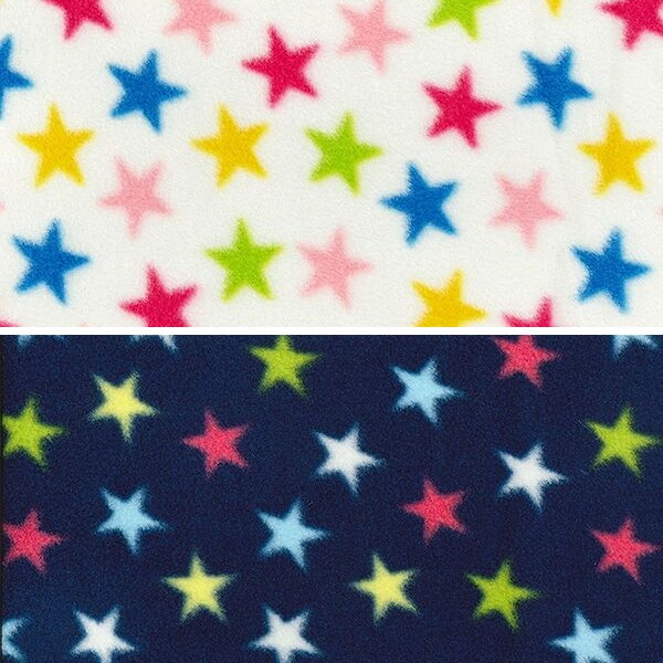 Printed Polar Anti Pil Fleece Fabric Multi Coloured Stars Party Fun Ivory