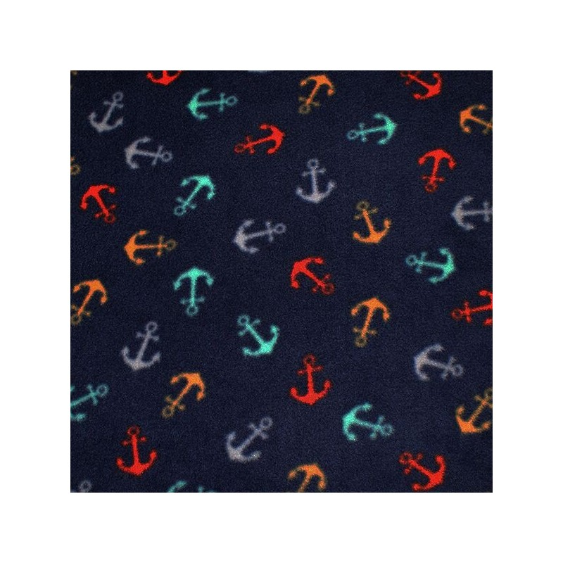Printed Polar Anti Pil Fleece Fabric Nautical Anchor Sailor Sailing Ocean Multi