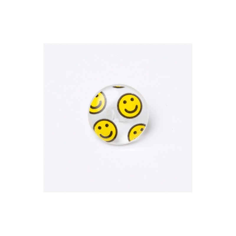 1 x Clear Smiley Face Happy Button 15mm Shank Novelty