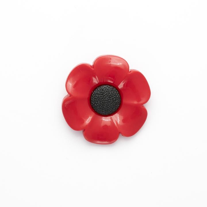 1 x Poppy Button 40mm Shank Novelty Buttons Poppies