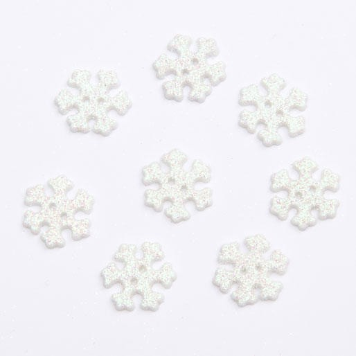 20mm Christmas Frosted Snowflake Festive Craft Buttons