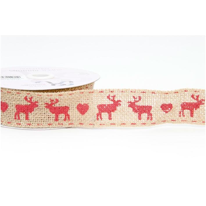 Hessian Ribbon 38mm Christmas Reindeer Stag  Jute Xmas Festive