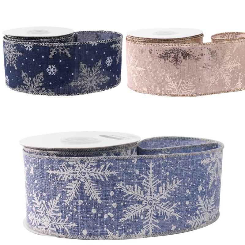 Deep Blue Hessian Wired Edge Ribbon 63mm Christmas Snowflakes Xmas Festive
