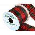 274 Wired Edge Lurex Tartan Ribbon 63mm Christmas Xmas Festive Plaid Check