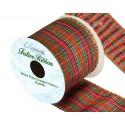 276 Wired Edge Lurex Tartan Ribbon 63mm Christmas Xmas Festive Plaid Check