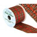271 Wired Edge Lurex Tartan Ribbon 63mm Christmas Xmas Festive Plaid Check