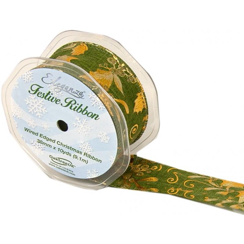 Green Eleganza Gilded Holly Wired Edge Ribbon 38mm Christmas Xmas Jute Festive