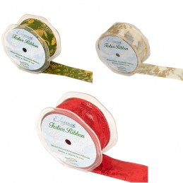 Eleganza Gilded Holly Wired Edge Ribbon 38mm Christmas Xmas Jute Festive