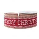 Hessian Wired Edge Ribbon 63mm Cross Stitch Merry Christmas Red Xmas Burlap Festive