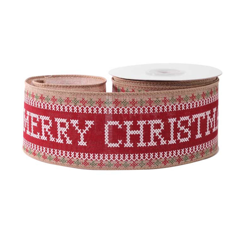 Hessian Wired Edge Ribbon 63mm Cross Stitch Merry Christmas Red  Xmas Burlap Festive