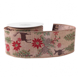 Hessian Wired Edge Ribbon 63mm Stag Poinsettia Christmas Red  Xmas Burlap