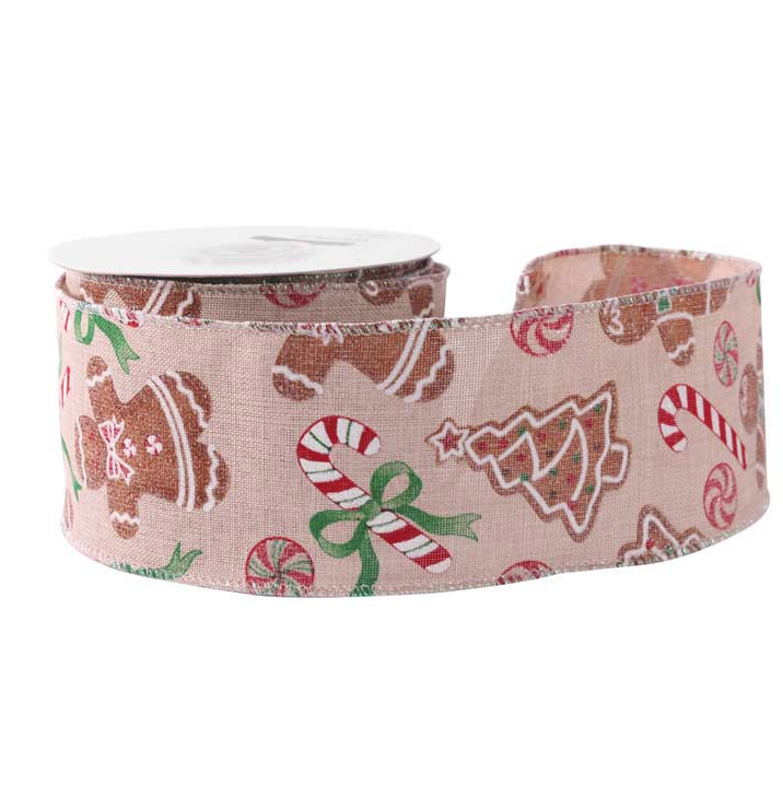 Hessian Wired Edge Ribbon 63mm Gingerbread Man Christmas Xmas Burlap