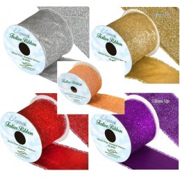 Wired Edge Sparkle Glitter Ribbon 63mm Christmas Xmas Party Festive