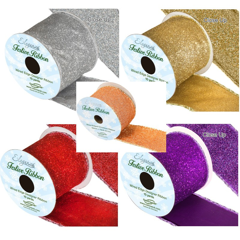Silver Wired Edge Sparkle Glitter Ribbon 63mm Christmas Xmas Party Festive