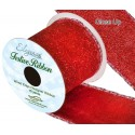 Red Wired Edge Sparkle Glitter Ribbon 63mm Christmas Xmas Party Festive