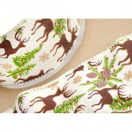 Ivory Wired Edge Ribbon 60mm Christmas Reindeer Stag  Jute Xmas Festive